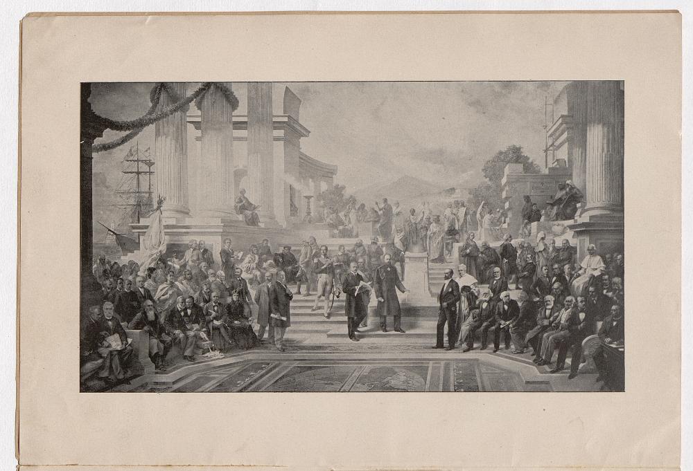 Veliki majstori (arhitekti) arbitraže i mira (reprodukcija slike Henrija Dangera objavljena u istoimenoj brošuri Quesne l)